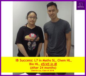 Cherrie 在HKEXCEL報讀了兩科目IB補習,分別是IB數學(SL)和IB化學(HL) ,全都拿了7級別。