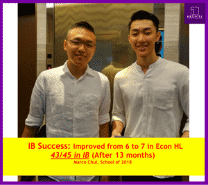 Marco Chui ,IB考取43/45 ,在IB補習選擇了我們的經濟,同樣奪得最高的7分!